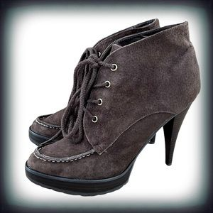 Envy Suede Lace Up Stiletto Ankle Boots 11